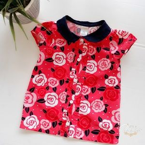Gymboree Best in Show Floral Shirt Top Size 5T